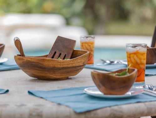 BirdRock HomeOval Boatshape Salad Wooden Bowl Set