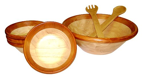 Cherry Rim Wood Serving Bowls & Utensils Set