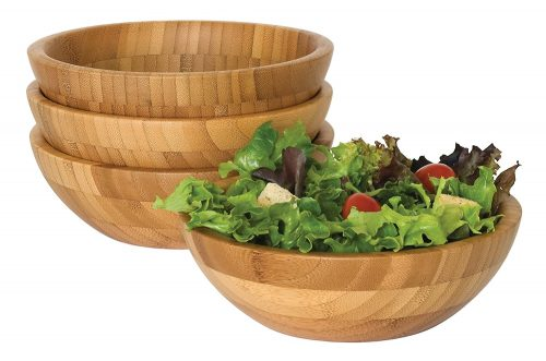 Lipper International Small Bamboo Wooden Bowl Set