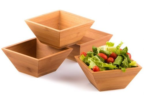 wood salad bowl set by midori way