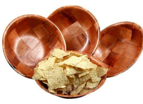 Woven Wooden Salad Bowl Sets