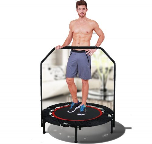 Ancheer Foldable Adjustable 40 Inch Trampoline with Handrail, Mini Tramplines