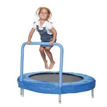 Bazoongi 48-Inch Bouncer Trampoline with Safety Pad and Balance Handrail