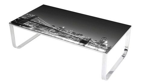 Best Master Furniture Brooklyn Skyline Glass Coffee Table