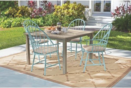 Blue Hill Blue Aluminum Outdoor Dining Chairs with Beige