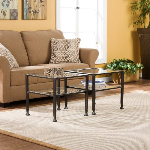 Bunch Metal Cocktail Coffee Table with Glass Top, Black finish Glass Coffee Tables