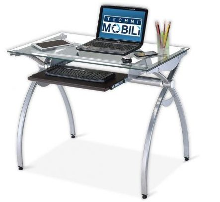 Contempo Clear Glass Top Computer Desk