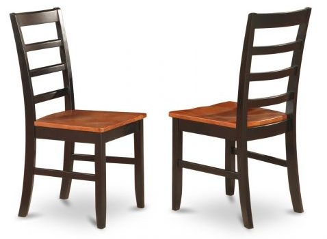 East West Furniture PFC-BLK-W Chair Set with Wood Seat, dining chairs