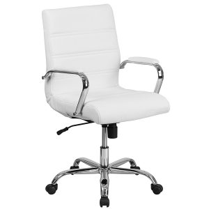 Flash-Furniture-Mid-Back-Leather-Executive-White-Office-Chair