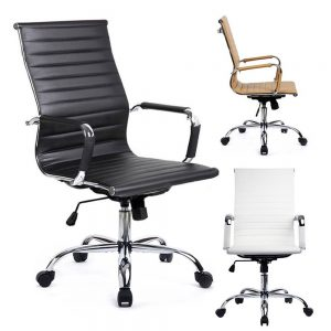 GTracing-Leather-Ergonomic-Conference-FUR-GT838-White Office Chairs