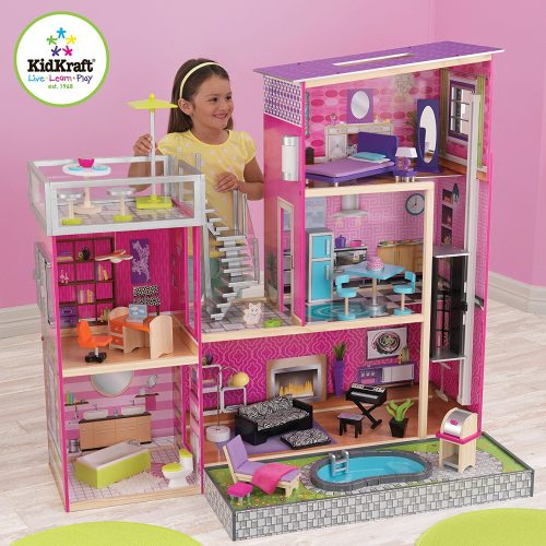 Girl's Uptown Dollhouse with Furniture