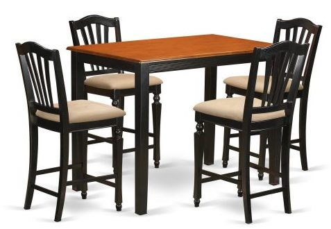 Kitchen Dinette Table and 4 Counter Height Stool Set
