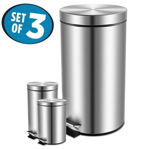 Large Round Kitchen Garbage Can Set, Stainless Steel Trash Cans