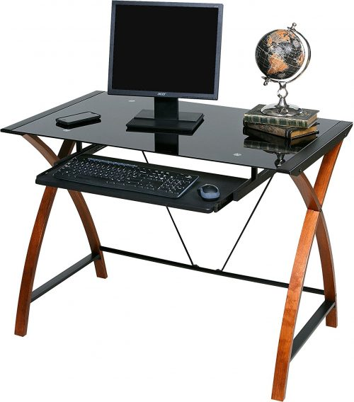 OneSpace 50-JN15K05 Glass and Wood Computer Desk