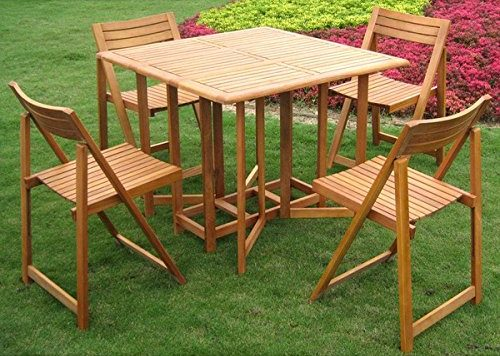 Outdoor Patio Royal Tahiti Galveston Stowaway Iron Wooden Folding Chairs