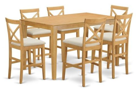 Pub Table and 6 Bar Stools with Backs Set, Wooden Folding Chairs