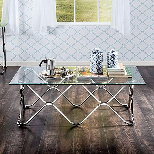 Silver Rectangle Coffee Table Made From Glass Metal
