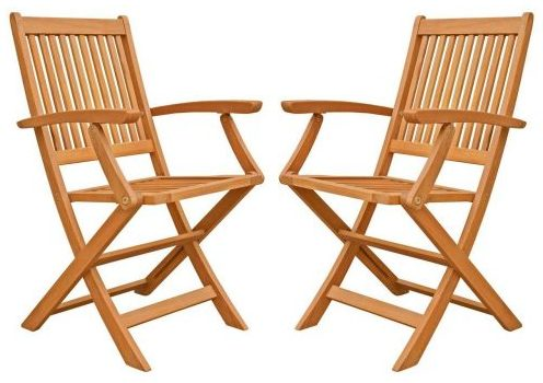 Win Outdoor Hardwood Folding Arm Chair
