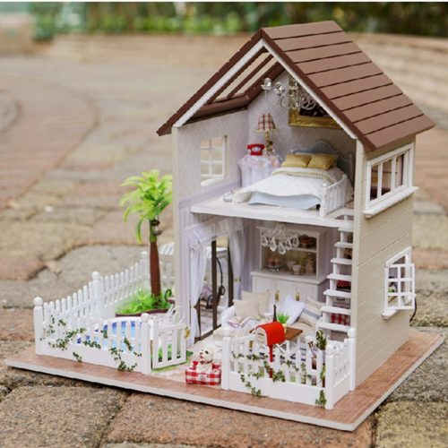 Wooden Handmade Dollhouse Miniature DIY Kit