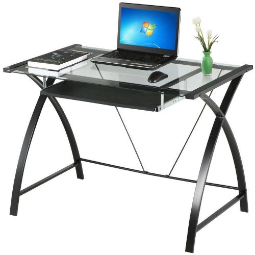 Yaheetech Black Glass Computer Desk