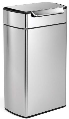 simplehuman Rectangular Touch-Bar Trash Can, Stainless Steel