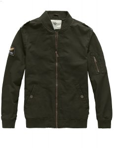 WenVen-Aviator-Cotton-Military Jackets men-Green