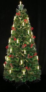 bb8736876088 80th Century Noble Fir Pre-lit Fiber Optic Christmas tree Decorated with  Candle Light