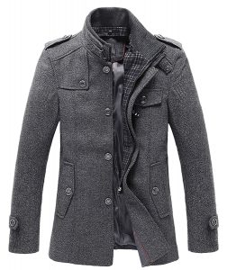 Chouyatou-Stylish-Breasted-Military-Jacket men Peacoa
