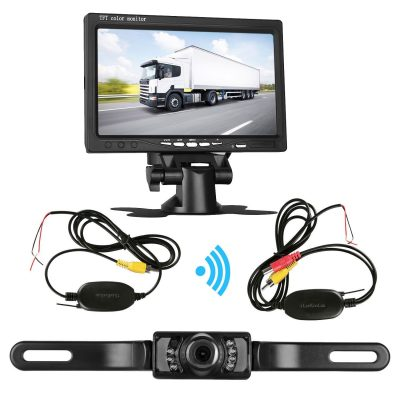 Camecho Updated 12V 24V Wireless Color Video Transmitter /& Receiver Kit for Vehicle RV Bus Front Car Backup Rear View Camera