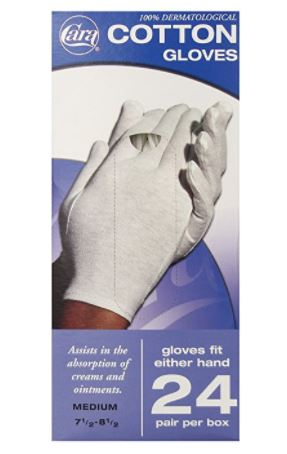 CARA Hypoallergenic Moisturizing Cotton Gloves, Medium, 24 Pair