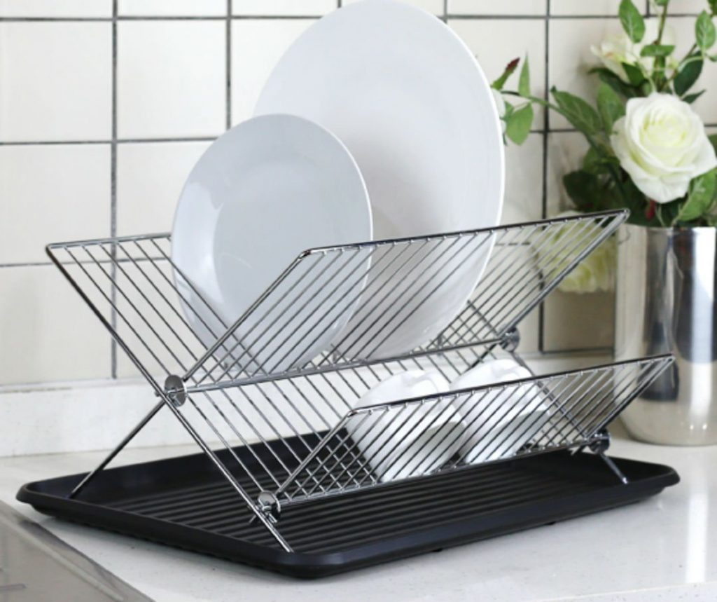 Deluxe Chrome-plated Steel Foldable X Shape 2-tier Shelf Small Dish Drainers with Drainboard (BlackII) - Top 10 Best Dish Drainers and Racks in 2021