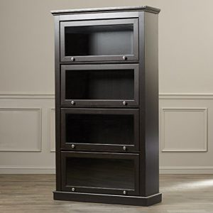 sturdy 60 4 shelf allen barrister glass and wood bookcase in espresso - Barrister Bookshelves