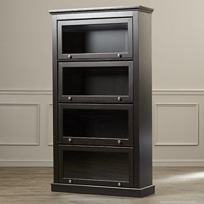 Sturdy-4-Shelf-Barrister-Bookcase-Espresso