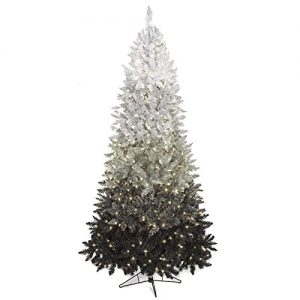 silksareforever 76 hx50w ombre tinsel pvc led lighted artificial christmas tree wstand blacksilverwhite - Black Artificial Christmas Tree