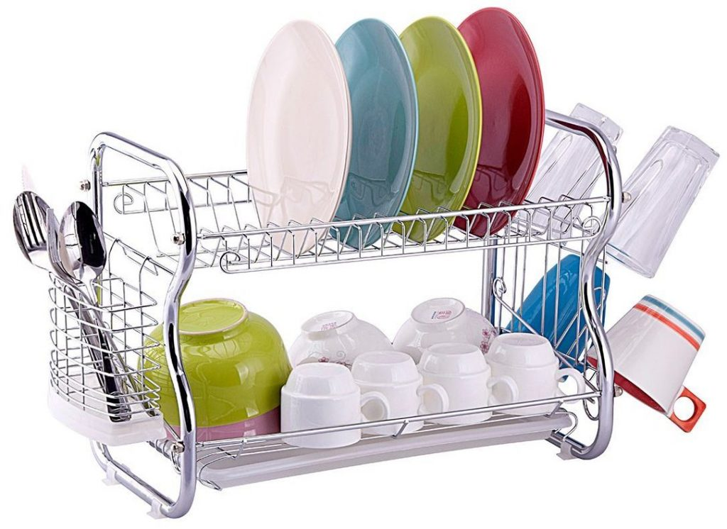 Toplife 2 Tier Chrome Kitchen Dish Drainer Drying Rack