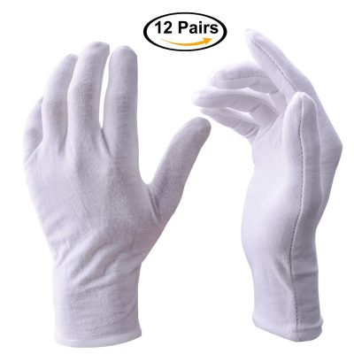 Zealor 12 Pairs White Cotton Gloves, Coin Jewelry Silver Inspection Gloves, Large Size