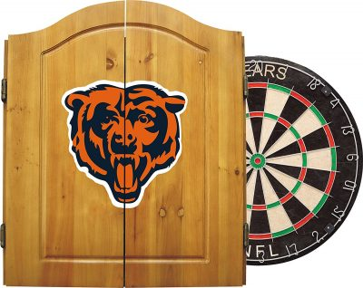 NFL Dart Cabinet Set w/ Steel Tip Bristle Dartboard and Darts