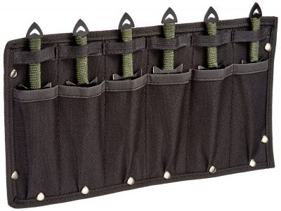 Perfect Point RC-040-6 Throwing Knife Set with Six Knives, Black Blades, Cord-Wrapped Handles, 6-1/2-Inch Overall