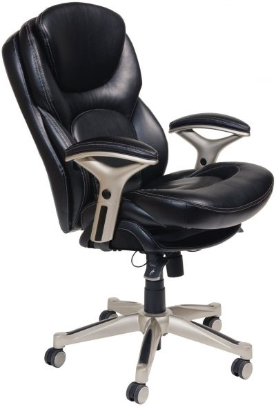 Serta Works Executive Office Chair with Back in Motion Technology, Bonded Leather, Black