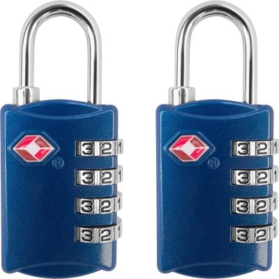 TSA Luggage Locks (2 Pack) - 4 Digit Combination Steel Padlocks - Approved Travel Lock for Suitcases & Baggage