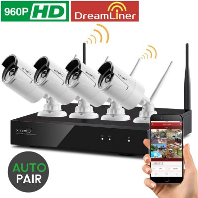 Wireless Security Camera System xmartO Auto-Pair 4 Channel 1080p HD Surveillance NVR with 4x 960p HD WiFi IP Cameras, Dream Liner WiFi Relay, NVR with built-in Router, Indoor Outdoor, No HDD