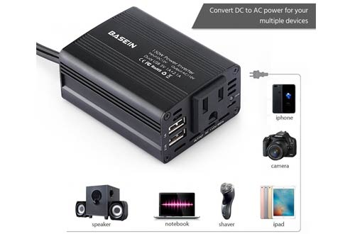 BASEIN 150W Power Inverter for Car Converter DC 12V to 110V AC Inverter