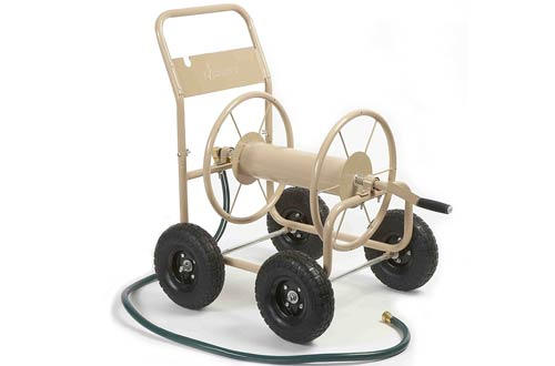 Industrial 4-Wheel Garden Hose Reel Cart