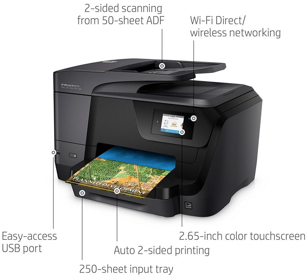 HP OfficeJet Pro 8710 All-in-One Wireless Printer with Mobile Printing, Instant Ink ready (M9L66A) - Top 5 Best Home and Office Printers in 2019 Reviews