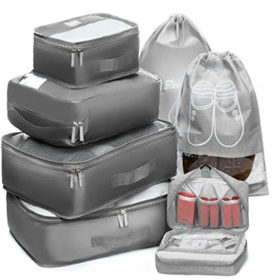 Packing Cubes Travel Set 7Pc 2 Large Cube Organizer Laundry Shoe & Toiletry Bag