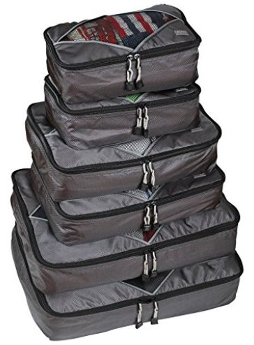 Rusoji Premium Packing Cube Travel Luggage Organizers - 6pc Various Size Set