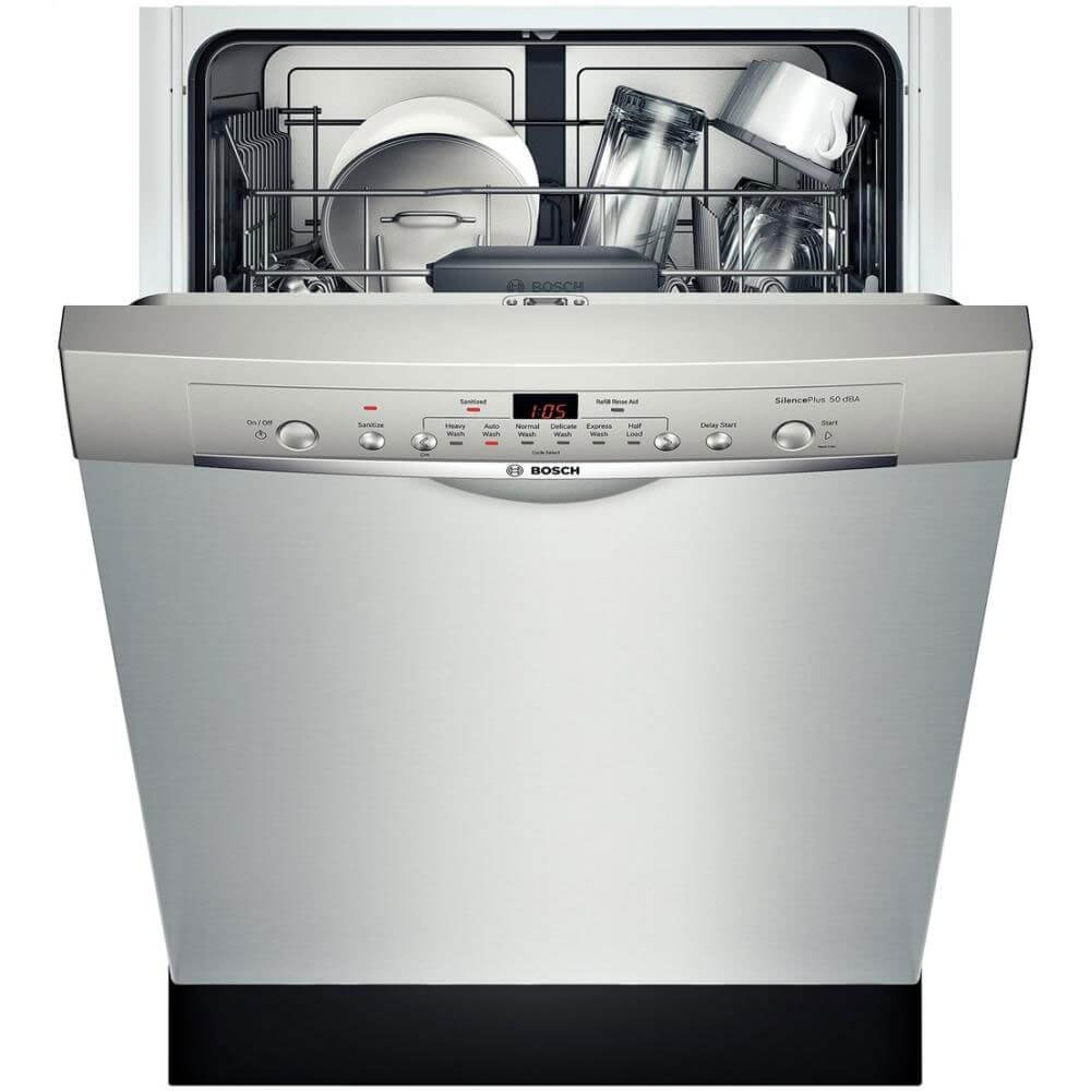 SHE3AR75UC Ascenta 24 Wide Full Console Built-In Dishwasher with 6 Wash Cycles 14 Place Settings Quiet 50 dBA Delay Start 24-7 Overflow Leak Protection in Stainless Steel