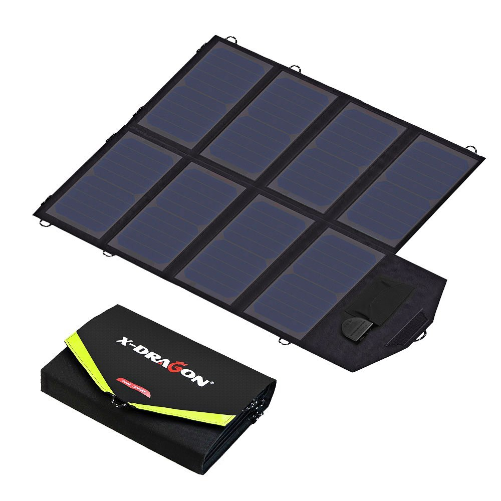 Solar Charger, X-DRAGON 40W SunPower Solar Panel Charger (5V USB with SolarIQ + 18V DC) Water Resistant Laptop Charger for Phone, NoteBook, Tablet, Apple, iPhone, iPod, Samsung, Android Smartphones