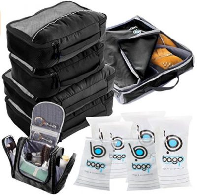 Travel Organizer Full Pack Set - Packing Cubes, Toiletry Bag, Shoes Bag, ZipBags