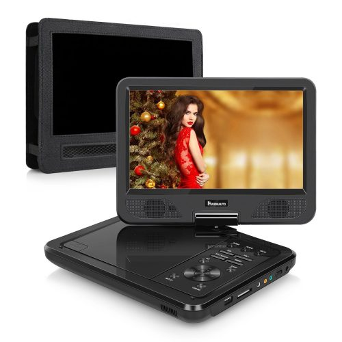 10.1 Inch HD Screen Portable DVD/CD Player with 5-Hour Built-In Rechargeable Battery and Headrest Mount Case